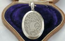 SWEET Antique LARGE Victorian SOLID Silver LOVE Locket ORNATE Keepsake Pendant