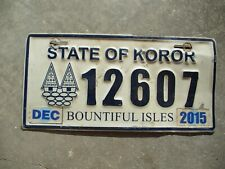 State of Koror 2015 license plate #    12607