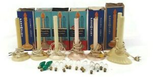 7 Vintage Christmas Window Plastic Wax Drip Single Candle Sticks + 14 bulbs