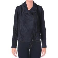 Vince 2895 Womens Blue Leather Panel Long Sleeves Bomber Jacket Coat S BHFO