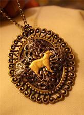 Lovely Swirl Rim Brasstone Filigree Inset Agnus Dei Lamb of God Pendant Necklace
