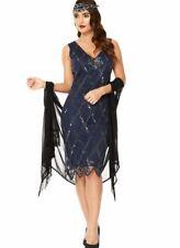 GatsbyLady Liz 20s Inspired Art Deco Navy Blue Flapper Dress Sequin Bead Tank 8