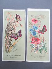 2 Antique CHRISTMAS Greetings Cards Butterflies Wild Flowers & Grasses Poppies