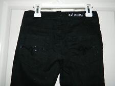GUESS JEANS juniors Black Cotton Stretch Skinny CROP Pants JEANS* 0