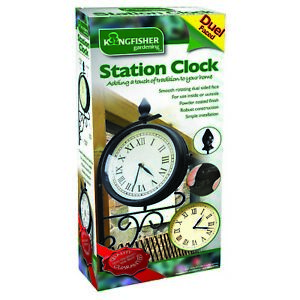 Kingfisher Victorian Station Style Rotating Dual Faced Garden Clock With Bracket