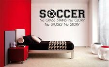 SOCCER NO GRASS STAINS BOY LETTERING DECAL WALL VINYL DECOR STICKER  SPORTS 36""