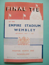 1937 FA Cup final programme,Ticket & free teamsheet Preston Nth end v Sunderland