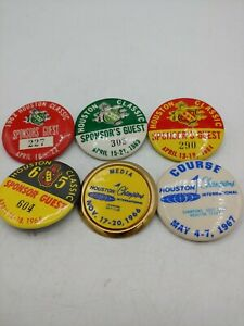 Vintage  Houston Classic Sponsor's Guest Golf Pinback from 1962- 1967 set of 6