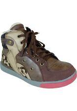 New Boys Hightop Sneakers w/Zipper Coffee and beige size 2.5