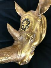 Rhino Head Wall Hanging Hand Painted West African Wisdom Symbol Gold Statue