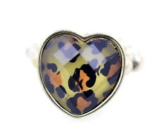 Vintage retro style resin leopard animal print heart stretch adjustable ring