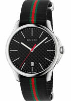 New Gucci G-Timeless Black Dial Steel Striped Nylon Strap YA126321 Swiss Watch