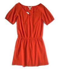 J.Crew Factory Women's XS NWT Orangish-Red Cerise Gauze Cotton Drop Waist Dress