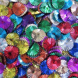 Sequins Mixed Colors 15mm Sunburst/Starburst/Wheels Paillettes ~100 pieces Loose