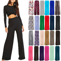 NEW LADIES PLUS SIZE PALAZZO TROUSERS WOMENS FLARED WIDE LEG PAINTS 8-26