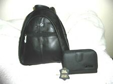 Women's Set 3in1 Lorenz Real Leather Black Backpack Fur Trim Gloves Purse