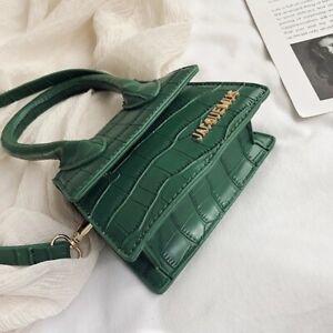 Green Mini Croc Embossed PU Leather Satchel Bag
