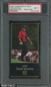 1998 Champions Of Golf Master Collection Golf Doil Tiger Woods RC Rookie PSA 7