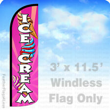 ICE CREAM - WINDLESS Swooper Flag 3x11.5 Feather Banner Sign - pq