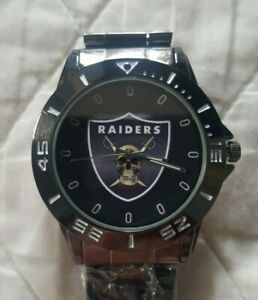 NFL Football OAKLAND RAIDERS WATCH~NEW Wristwatch~BLACK Stainless Steel