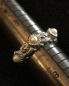 Judith Ripka Sterling Silver Triple Pearl Cable Band Ring Size 7