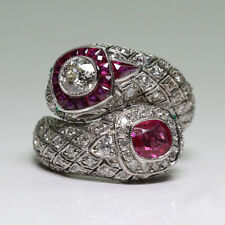 Turkish Jewelry 925 Silver Ruby Gemstone Vintage Retro Women Wedding Ring 6-10