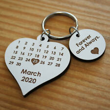 Calendar Heart MDF Personalised Laser Cut Keyring Anniversary Save the Date Gift
