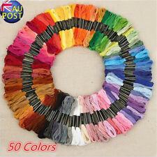50 Color Egyptian Cross Stitch Cotton Sewing Skeins Embroidery Thread Floss  MN