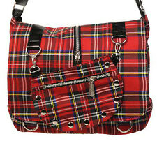 Banned Apparel Tartan Red Cross Body Scottish Rockabilly Shoulder Bag Small