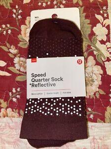 Lululemon Speed Quarter Sock *Reflective NWT Size M/L 7.5-10 Maroon Anti Stink