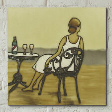 "Art Deco Lady On Beach Bathroom Ceramic Tile Picture Vintage Seaside 8x8"" 05471"