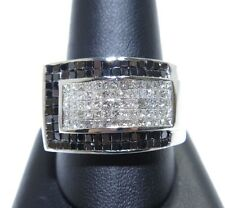 14k White Gold White & Black Invisible Set Beautiful Diamond Ring 4.50ct
