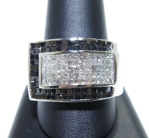 14k White Gold White & Black Invisible Set Beautiful Diamond Ring 4.50ct