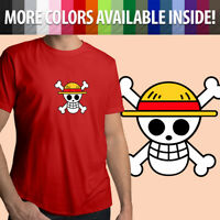 One Piece Monkey D Luffy Jolly Roger Straw Hat Flag Unisex Mens Tee Crew T-Shirt