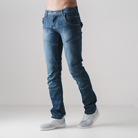 Mens Crosshatch Straight Leg Fit Denim Jeans 'Newport New' - Stone Wash