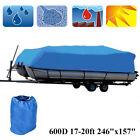 17-20ft Heavy Duty 600D Waterproof Pontoon Boat Cover Dust UV Resistant Blue