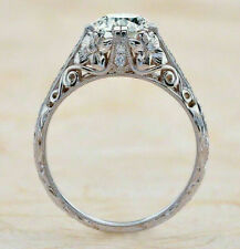 Antique Vintage Art Deco Engagement Ring 2.2Ct Round Diamond 14k White Gold Over