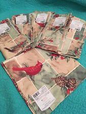 "NWT Set Of 6 Vintage Christmas/Winter Target Cardinal&Pine Cones 20"" X20""Napkins"