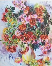 Blume Vase Chrysantheme Stickpackung Stickbild Stickset Bild mit Perlen 250