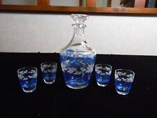 Glass Decanter 4 Shot Glasses Blue & White Leaf Pattern Made In France lv rm fp
