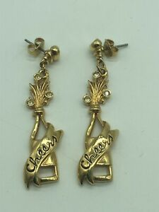 """Cheers Celebration Pierced Gold Tone Champagne Bottle Dangle Earrings Avon 2"""""""
