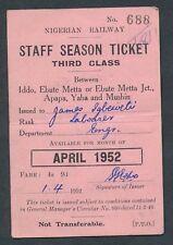 QY4407t NIGERIA 3rd cl staff season ticket 1952 Iddo Ebute Metta Apapa Yaba