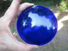 "Vintage 4 3/4"" Convex Dark Blue Glass Lens for Railroad Lantern Auto Car Light"