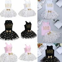 Baby Girl Birthday Party Princess Outfit Kids Bow Tutu Skirt Dress Tops T Shirt