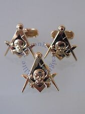 Masonic Skull 💀 Cufflinks & lapel pin  Gold Plated