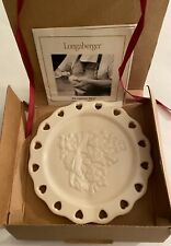 Longaberger Pottery Sweetest Heart Ivory Candle Holder Plate & Ribbon 31083 New