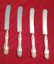 Antique Silver American Beauty Rose Holmes & Edwards 4 Dinner Knives--NO MONO!!