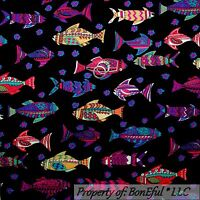 BonEful Fabric FQ Cotton Quilt Black Gold FISH Pink Blue Red White Flower Beach