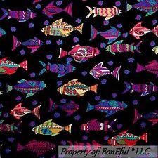BonEful Fabric FQ Cotton Quilt Black Gold FISH Pink Blue Red White Flower Beach