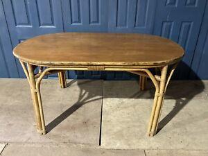 Vintage Retro Cane Wicker Bamboo Dining Table Tiki kitchen palm deco Boho